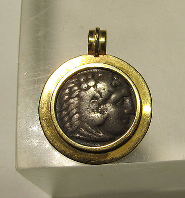 Alexander the Great Silver Tetradrachm Ancient Coin 300s BC 18K Gold Pendant yqz