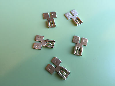 """Spade Terminal Dual Circuit Tap   .250""""  Wire Connector Push On Adapter Lot Of 5"""