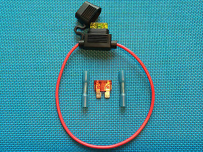Daier Std Atc Ato Waterproof  Inline Fuse Holder W/ 2 Fuses & Heat Shrink Butt
