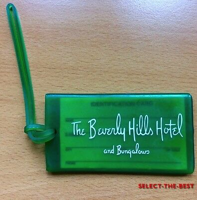 Vintage BEVERLY HILLS HOTEL & BUNGALOWS Green w/ White Logo Luggage Tag