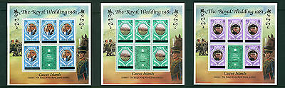 "CAICOS ISLANDS 1981, ""Royal Wedding"", Ovptd. Perf 12, 3 S/Sheet , MNH 60"