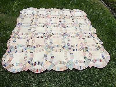 Antique Handmade Quilt, Double Wedding Ring from Pennsylvania c.1920's
