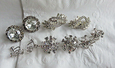 Lot Of Some Vintage Very Pretty Clear Rhinestone Clip-On & Screwback  Earrings