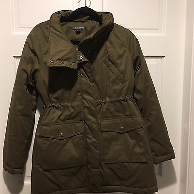 A Pea In The Pod Maternity Coat Jacket Sz S Down Army Green Warm Winter Snow Pff