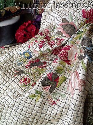 19th c Antique French Silk Metallic Embroidered TABLE Cover QUILT French Chateau