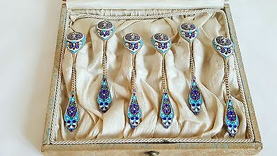 Antique Russian Gilt Silver Enamel Set Spoons for Tiffany