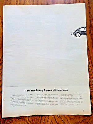 1965 Volkswagen VW Bug Ad Is the small car going out of the Picture?