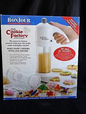 BonJour COOKIE FACTORY and Decorating Kit 39 Piece Set Battery Powered COMPLETE