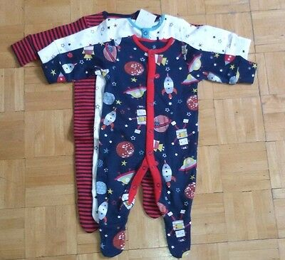 BNWT baby boys 3pk Navy Space Rockets Sleepsuits 0-3 months NEXT