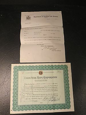 UNION WIRE ROPE CORPORATION.......1935 Stock Certificate, Stamps, Paperwork