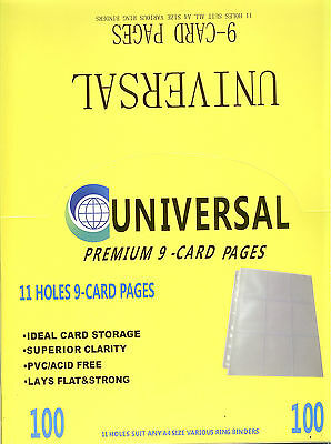 *UNIVERSAL 11-Hole Premium 9-Pocket card Pages Box(100) x 2--for Soccer Cards