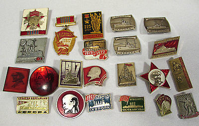 Mixed Lot Vintage Soviet Russian Lapel Pins (22) Lenin Red Star Navy