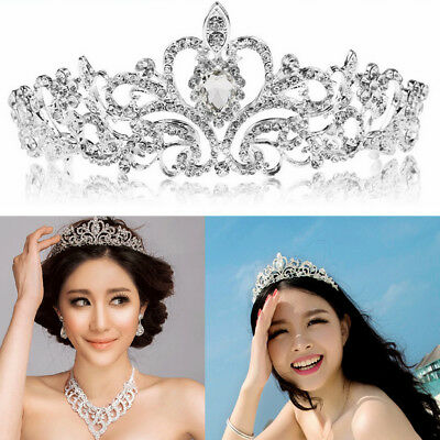 Bridal Princess Crystal Hair Tiara Headband Wedding Crown Veil Hair Accessory US