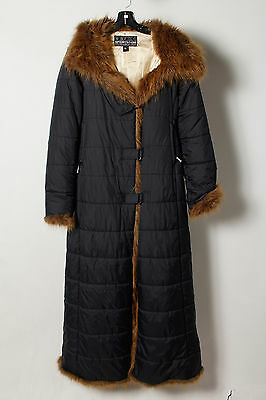 Bench Black Faux Fur Quited Hooded Winter Long Coat Size L