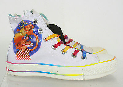 NIB Converse All Star White Multicolor Laces High Top Athletic Shoes Size 3/5