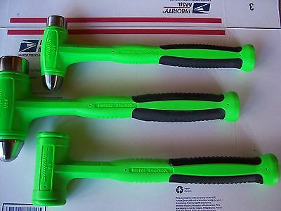 New Snap On EXTREME GREEN 3 Pc. 16, 24, And  32 Oz. Dead Blow Hammer Set
