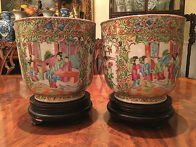 A Pair Excellent 19th C Chinese Rose Medallion Planters.