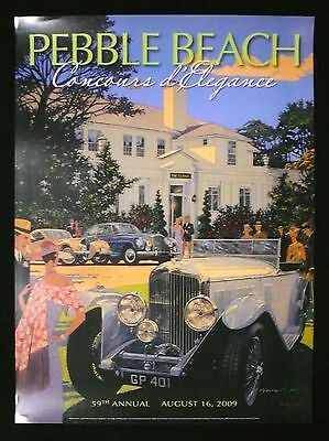 2009 SIGNED Pebble Beach Concours Poster BENTLEY Bill HARRAH ATALANTE ROWE