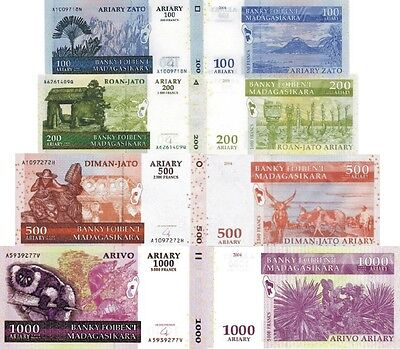 MADAGASCAR - Lotto 4 banconote 100/200/500/1000 Ariary FDS - UNC