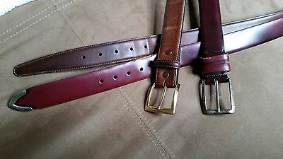 """Lot of 2 Used Men's Leather Belts Brown Pebble 44"""" & Bally Burgundy 44"""""""