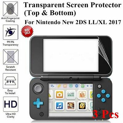 LCD Screen Protector Film Guard+Clear Top Bottom For Nintendo New 2DS LL/XL 2017