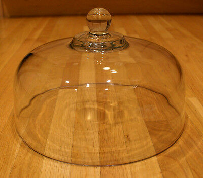 """Heavy Glass Cake Plate Dome Cover Lid - Clear Glass Replacement Dome 11 1/4"""""""
