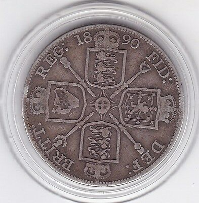 1890   Queen  Victoria  Large  Double  Florin  (4/-)  Silver (92.5%)  Coin