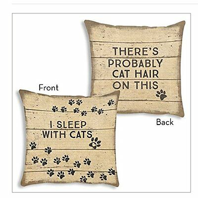 """I Sleep with Cats Pillow Primitives by Kathy 12"""" by 12"""" Dog Accent Cat"""