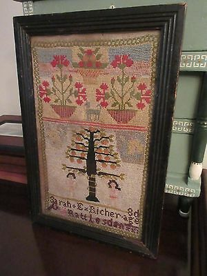 1859 Antique Schoolgirl Adam & Eve Embroidery Sampler with Provenance /Genealogy
