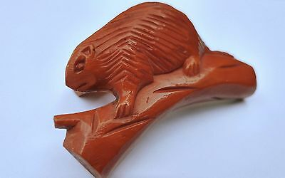"60s Carved Brown Bakelite Beaver ""Neal Slide"" Scouts Neckerchief or Scarf Slide"