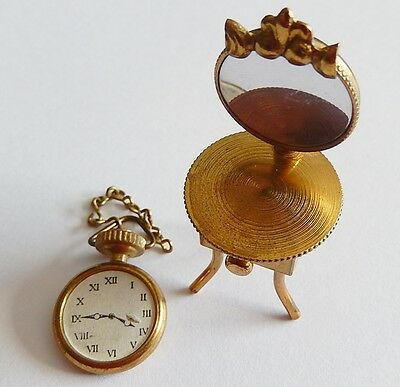 """Solid Brass Minature Dollhouse 2"""" Vanity Make Up Table & Hanging Clock"""