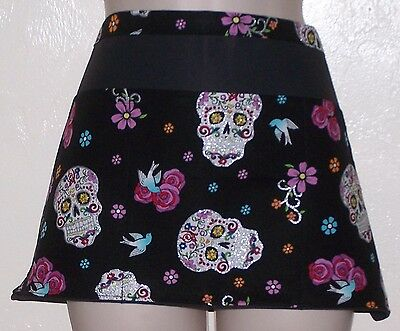 Black apron Metallic Sugar Skulls waitress server waiter waist apron 3 pockets