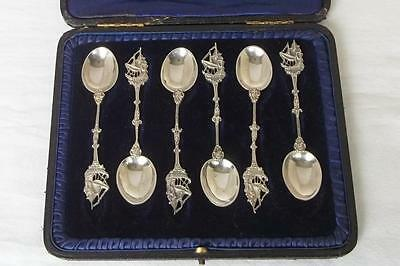 A Case Set Of Six Solid Sterling Silver Tea / Coffee Spoons Ships Handles 1927.
