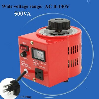 Metered Variac Variable 500W 110V AC Transformer Auto Regulator 0-130V 500VA US