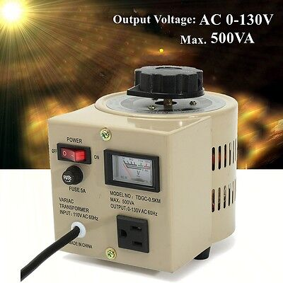 TDGC-0.5KVA Variable AC Transformer 500VA Variac 5 Amps Voltage Regulator 0-130V