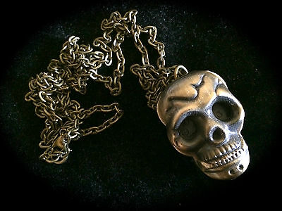 Antique Bronze Pendant/Pocket Skull Watch