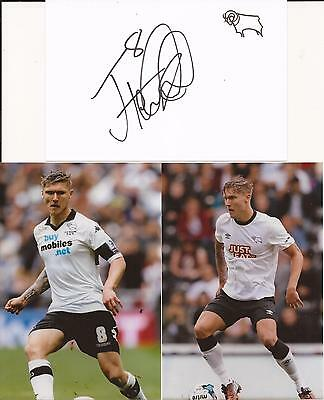 Derby * Jeff Hendrick Signed 6X4 Crested Whte Card+2 Free Unsigned Photos+Coa