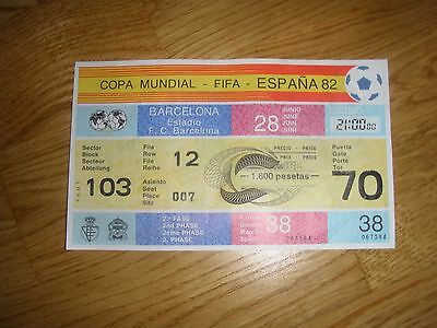 TICKET 1982 WORD CUP GAME 38 BELGIUM v POLAND UNUSED 2nd PHASE polska