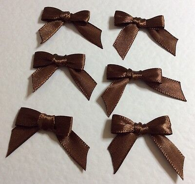 50 Pretty Chocolate Brown 10mm Ribbon bows for card making/scrap booking UK