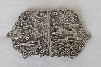 An Antique Solid Sterling Silver Victorian Nurses Buckle Hunting Scene Lon 1898.