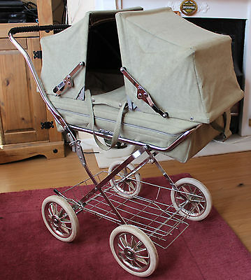 Vintage Charlesworth Quality Twin Dolls Pram  / Carry Cot