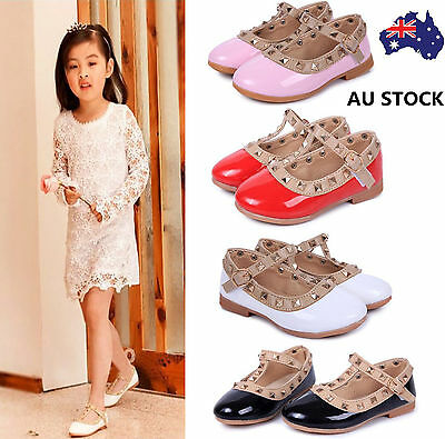 Girls Kids Slip On Rivet T-strap Flats Toddler Sandals Casual Pointed Toe Shoes
