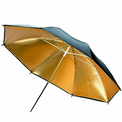 Photo Studio Photography Flash Lighting 33'' Reflective Umbrella Black Gold