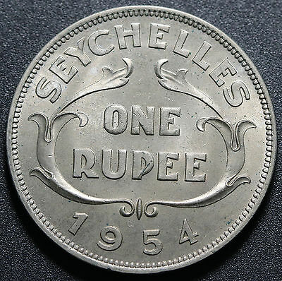 1954 Seychelles 1 Rupee KM# 13 UNC Coin Luster+++