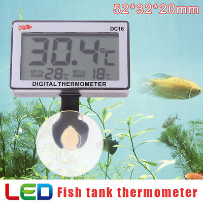 Digital Fish Tank Aquarium High Low Water Thermometer Temperature Auto Alarm AU