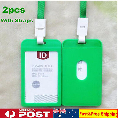 2 x Green Card Vertical Holder Plastic Business ID Badge With Neck Strap Lanyard