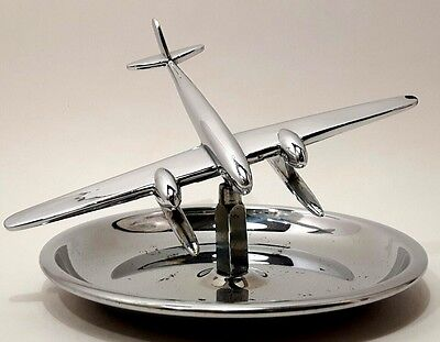 Vintage Chrome Ash Tray Coin Holder Desk Top Trinket Dish Airplane on a Swivel