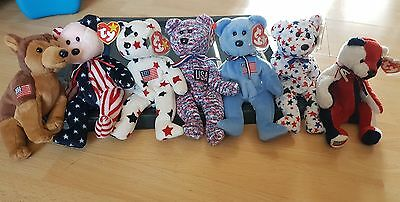 TY Beanie Baby USA collection x 7