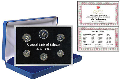 Central Bank of Bahrain 5 to 500 Fils Silver Proof 6 PCS Coin Set, 2010, Mint