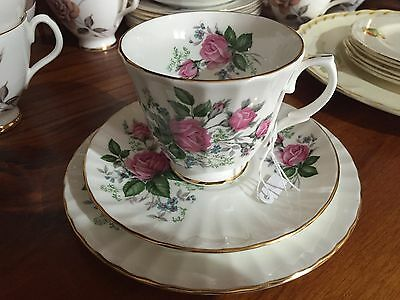 Duchess Pink Roses Trio Cup Saucer Plate